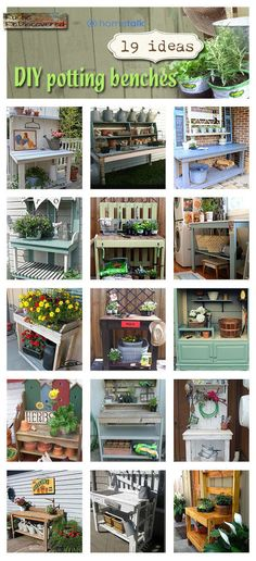Are you in need of a new potting table?? Looking for some inspiration??   Check out these creative and very useful tables and benches. They are all in one place…