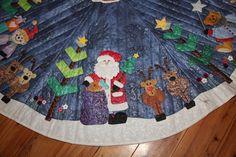 Free Printable Tree Skirt Patterns | santa on crhistmas tree skirt 1024x682 Applique Christmas Tree Skirt
