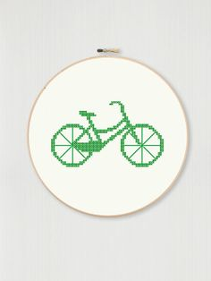 Retro bicycle cross stitch pattern