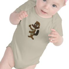 Infant creeper with platypus cartoon
