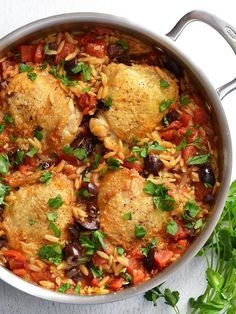 This Chicken with Orzo and Olives simmers together in one skillet for maximum flavor and minimum cleanup. A one-pot easy weeknight dinner! Chicken Legs, Chicken Orzo, Chicken Curry, Chicken Thighs, Skillet Chicken, Chicken Seasoning, How To Cook Chicken, So Little Time, Bon Appetit