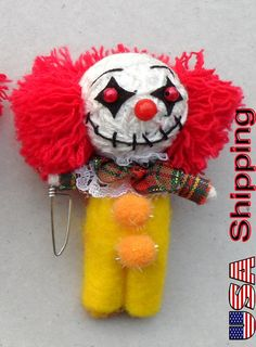 The Scary Clown String doll Voodoo doll keychain by handycrafts4u, $7.99
