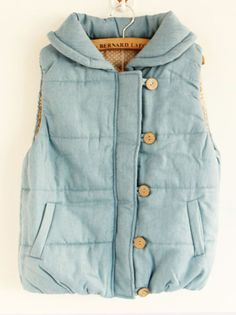 Joyful day~ day fresh and sweet and solid wooden buttons side zipper vest/waistcoat