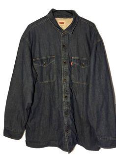 c17cbf21fd4 Vtg Mens Levis Red Tab Fleece Lined Denim Jacket Size XL Regular Button Down