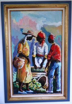 Errol Allen, Jamaica's  master painter,  Market Scene. Caribbean Art, Oil painting, Edna Manley, Neville Budhai, B. Watson, creole art