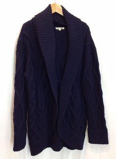 Haute Hippie Nude Navy Blue Cable Knit Chunky Cardigan Sweater Merino Wool M L #HauteHippieNude #Cardigan