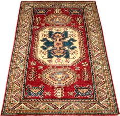 Today's Kazak is a modern shape of old Caucasian rugs which strictly adheres to traditional design elements of the Caucasus. It has elements such as the stepped hooked polygons, geometrical medallions and rosettes, presented in more stylized manner and with a new dimension.  http://www.alrug.com/4615