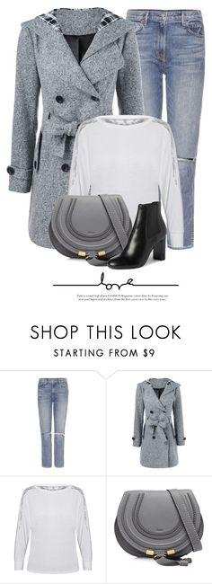 """Gray Coat"" by monmondefou ❤ liked on Polyvore featuring GRLFRND, Chloé and Yves Saint Laurent"
