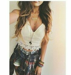 crop tops! high waisted shorts, and a cardigan? Sounds like a perfect summer outfit to me.