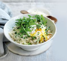 Creamy oats topped with savoury ingredients makes a wholesome, healthy dinner that's similar to risotto.