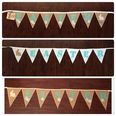 A personal favorite from my Etsy shop https://www.etsy.com/listing/179071976/easter-burlap-banner-burlap-bunting-with