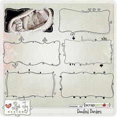 Digital Scrapbook Elements - Doodled Borders   Red Ivy Design