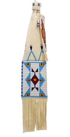 Beaded Pipebag with Quilled Tamper Holder - Front View by artist Wantawa Win Red Bear #Oglala #Lakota #PraireEdge
