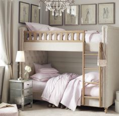 Gorgeous Bedroom. Great for girls of any age or guest room. Beautiful upholstered bunk bed. With the neutral tone of the room, this can easily become a boys room as well