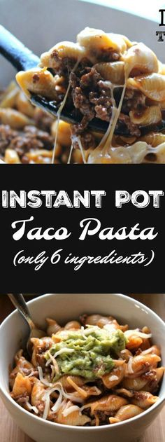 Instant Pot Taco Pasta – ONLY 6 ingredients and about 10 minutes needed! Not onl… Instant Pot Taco Pasta – ONLY 6 ingredients and about 10 minutes needed! Not only will your kids love this but YOU will too! Pastas Recipes, Beef Recipes, Slow Cooker Recipes, Cooking Recipes, Healthy Recipes, Delicious Recipes, Cooking Time, Recipies, Cheap Recipes