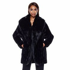 A by Adrienne Landau Cocoon Style Faux Fur Jacket, $199.90 HSN in black or taupe