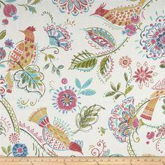 P Kaufmann Migration Linen Meadow from Screen printed on Paisley Embroidery, Pink Curtains, Bedroom Eyes, Sewing Rooms, Textile Patterns, Bird Prints, Beautiful Birds, Flower Decorations, Fabric Design