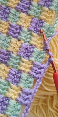 Crochet Baby Blanket Free Pattern, Crochet Square Patterns, Crochet Stitches Patterns, Easy Blanket Knitting Patterns, Easy Knit Baby Blanket, Easy Knitting Ideas, Baby Blankets To Crochet, Knit Blanket Squares, Crochet Blanket Stitches