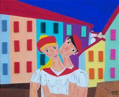 Duo basque (Peinture),  50x40 cm par Didier Dordeins tableau peinture acrylique  50x40 cm  chassis toile  finitions vernis  signé  pièce unique