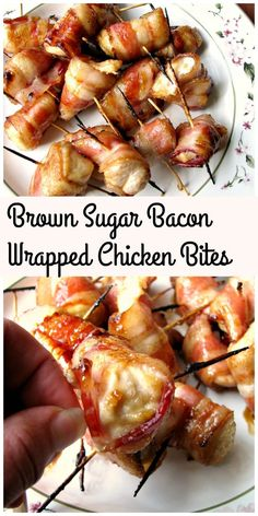 These sweet Brown Sugar Bacon Wrapped Chicken Bites are the perfect three-ingredient party appetizer. They keep well in a slow cooker set to keep warm, but they won't last! via Crazy Kitchen Bacon Wrapped Appetizers, Bacon Wrapped Chicken Bites, Chicken Bacon, Appetizers For Party, Appetizer Recipes, Party Snacks, Keto Snacks, Slow Cooker, Brown Sugar Bacon