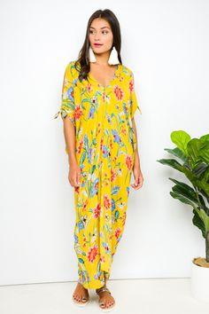 $69  Blue Bungalow Mustard Floral Cold Shoulder Kaftan - Kaftans - Clothing