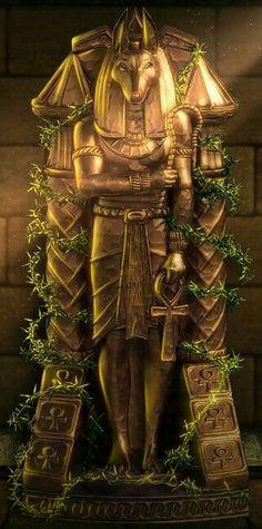Anubis Gold Statue (Ancient Quest of Saqqarah) Egyptian Mythology, Ancient Egyptian Art, Ancient Symbols, Ancient Artifacts, Ancient History, Egyptian Goddess, European History, Ancient Aliens, Ancient Greece