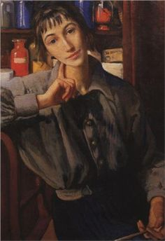 Self-portrait with a brush - Zinaida Serebriakova, 1924.  There's something so extraordinarily contemporary about her work, initially I though this was made today.