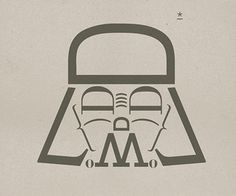 Star Wars character Darth Vader made of typography as self-promotional posters for Milan ad agency H-57.