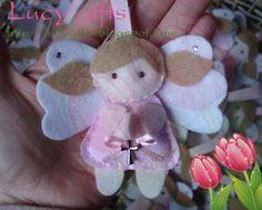 Lucy Gifts: Lembrancinha de Batizado: Anjinho de Feltro
