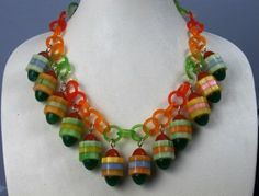 Laminated bakelite necklace with vintage celluloid chain