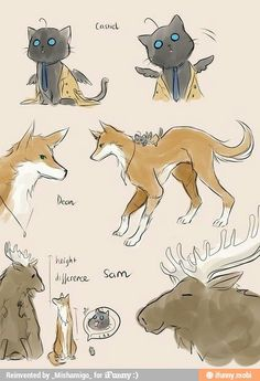 Awwww Sam as himself, Dean a Fox and Castiel a cat with wings------- *INCOHERENT SCREAMING AND FLAILING OUT OF CUTENESS OVERLOAD*-------are we going to ignore that dean has cas on his back--- IDK But this is so freaking cute