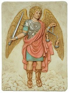 Archangel Michael Holding Scales Wall Relief, Color by Museum Store Company. $46.95. Weight: 4 lbs, ship wt: 7 lbs, ship box: 21x16x9. Size: 12.5 x 9.25 x 1. Material: cultured marble. Type: Precision Museum Store Company replica/reproduction wall plaque. His name means Who is as God. Michael ranks as the greatest of all angels whether in Jewish, Christian, or Islamic writings. He is Chief of the Order of Virtues, Chief of Archangels, Prince of the Presence, the ...