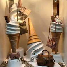 """Mulberry windows at Banner Boutique Biffi"" Visual Merchandising Window Display Design, Store Window Displays, Fashion Window Display, Display Windows, Retail Displays, Design Set, Store Design, Visual Merchandising Displays, Visual Display"
