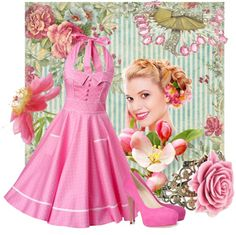 """""""Vintage Pink"""" by mikamouse on Polyvore"""