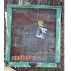 Reclaimed Rustic Old WINDOW - Farmhouse Barn Tin MAGNETIC Board - Shabby Chic Distressed Jade Frame - RUSTY Primitive Industrial Memo Board