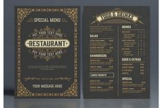 Restaurant Menu Layout with Ornamental Elements #menu #card #food #vintage #western #restaurant #bar #retro #template #ornaments Restaurant Menu Template, Menu Restaurant, Western Restaurant, Business Brochure, Business Card Logo, Menu Layout, Adobe, Line Design, Journal Cards