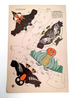 1936 RARE Halloween Party Whitman Publishing Nut / Candy Cups w/ Placecard Cutouts Unused Page Witch Owl Raven Pumpkin 1950s Halloween, Halloween Pin Up, Vintage Halloween Images, Halloween Canvas, Halloween Paper Crafts, Holidays Halloween, Happy Halloween, Halloween Decorations, Halloween Party