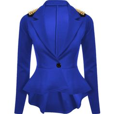 Forever Womens Long Sleeves Plain Spikes Shoulder Peplum Button Blazer ($10) ❤ liked on Polyvore featuring outerwear, jackets, blazers, spiked jacket, long sleeve jacket, peplum jacket, blue peplum blazer and peplum blazer