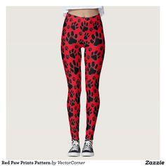 Red Paw Prints Pattern Leggings