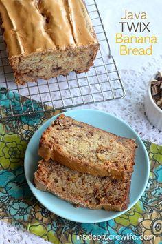 Java Twix Banana Bread - Twix cookies and a java glaze give this banana bread a fun twist  www.insidebrucrewlife.com