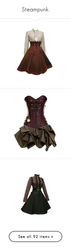 """Steampunk."" by jordankayleigh ❤ liked on Polyvore featuring fantasy, victorian, steampunk, fashionset, dresses, costume, short dresses, vestidos, steam punk dress and brown dresses"