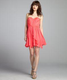 A.B.S. by Allen Schwartz carnation silk chiffon sheer back sweetheart bustier dress | BLUEFLY up to 70% off designer brands