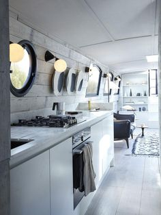 Architecture afloat: a new design-led barge boat by Bert & May Spaces provides an alternative housing solution Barge Interior, Home Interior, Interior Ideas, Interior Design, Luxury Interior, Interior Do Barco, Canal Boat Interior, Barge Boat, Canal Barge