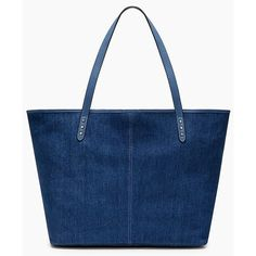 Rebecca Minkoff Medium Unlined Tote ($140) ❤ liked on Polyvore featuring bags, handbags, tote bags, denim, totes, leather handbags, blue tote, blue leather tote bag, blue leather handbags and leather tote