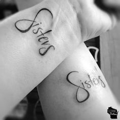 Sisters Matching Tattoos with subtle infinity symbol design