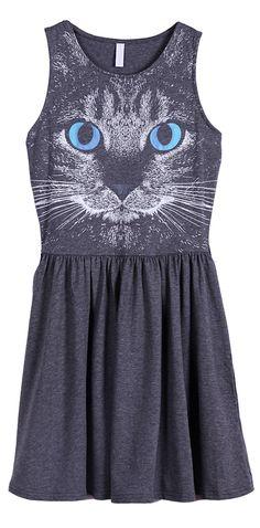 Vestido estampado gato sin mangas-Gris EUR22.99