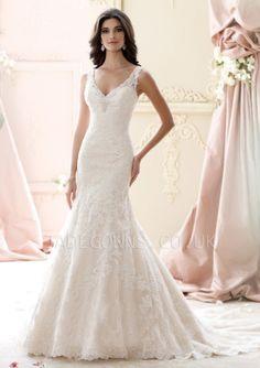Ivory V-neck Wedding Dress - 1507897 - Vintage Wedding Dresses
