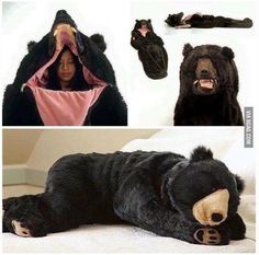 A bear sleeping bag that might get you attacked by a real bear or a camper or hunter, but who cares righ