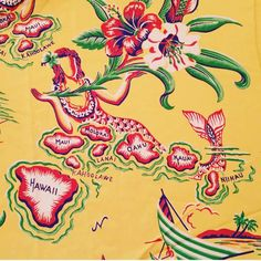 cold rayon hawaiian fabric with a lounging mermaid whose body make up all of the hawaiian islands. Hawaiian Art, Hawaiian Tattoo, Vintage Hawaiian Shirts, Hawaiian Print Fabric, Tropical Fabric, Forearm Band Tattoos, Ankle Tattoos, Bus Art, Hawaii Pattern