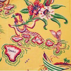 cold rayon hawaiian fabric with a lounging mermaid whose body make up all of the hawaiian islands. Hawaiian Print Fabric, Tropical Fabric, Hawaiian Wear, Vintage Hawaiian Shirts, Forearm Band Tattoos, Ankle Tattoos, Hawaii Tattoos, Bus Art, Vintage Tiki